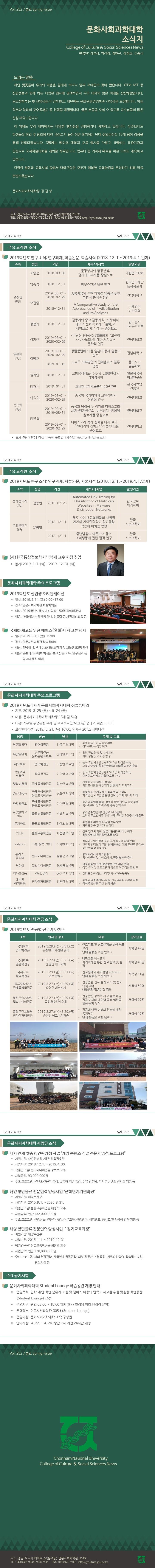 [소식지 제252호]2019년 문화사회과학대학 봄호(2019. 4. 22.일자)